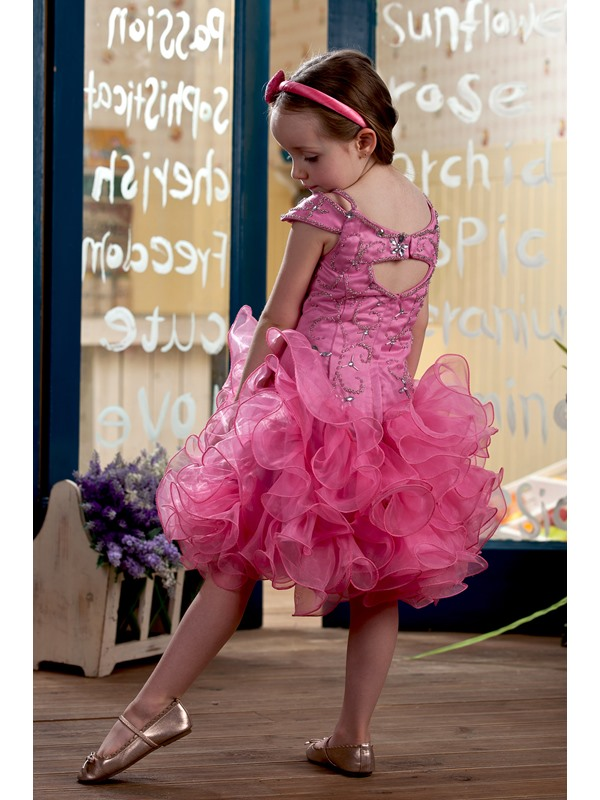 Pretty Capped-Sleeve Short/Mini Ruched & Embroidery Flower Girl Dress