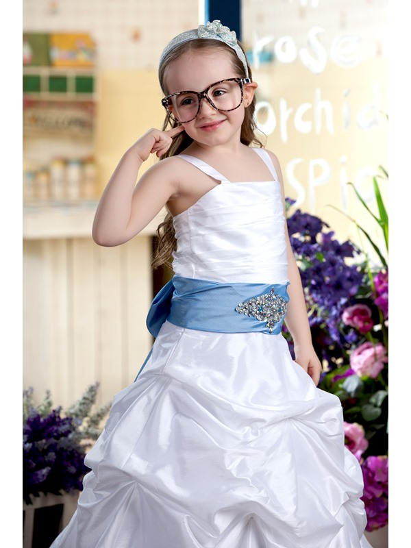 A-line Floor-Length Spaghetti Straps Flower Girl Dress