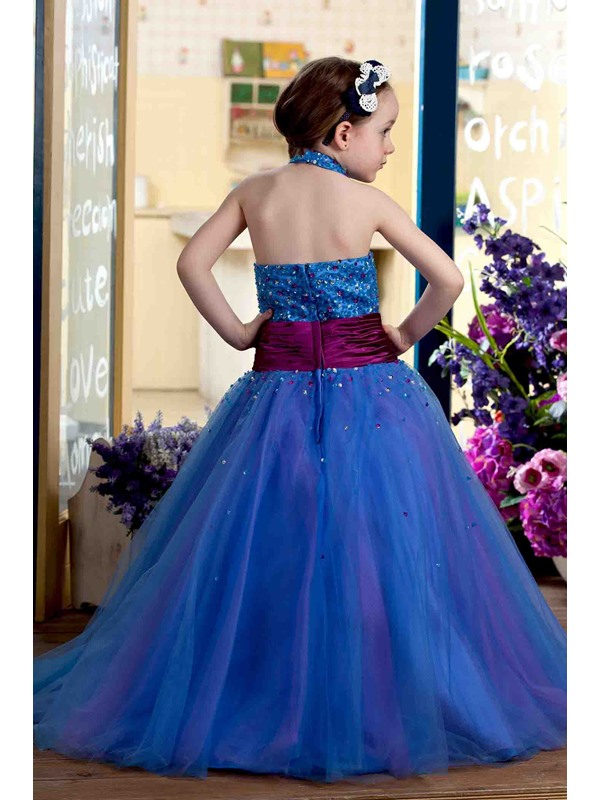 Ball Gown Halter Floor-length Sequins Flower Girl Dress