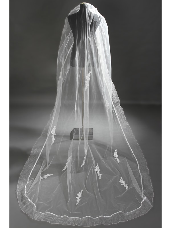 Remarkable Cathedral Length Ivory Lace Wedding Veil