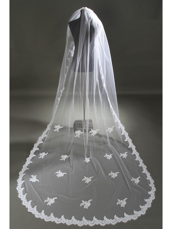 Glamorous Cathedral Length Lace Wedding Veil