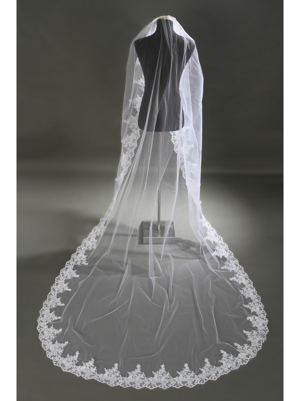 Elegant Lace Trim Edge Cathedral Length with Comb