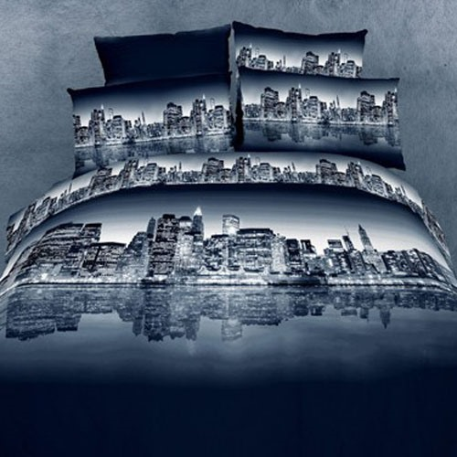3D Painting-Beautiful City Night Cotton 4-Piece Queen Size Duvet Covers