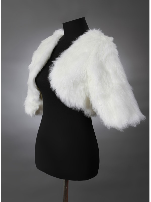Simple Style Pure White Half Sleeve Wedding/Evening Faux Fur Jackets