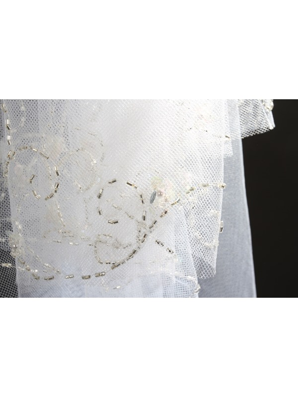 Enchanting Elbow Tull Wedding Bridal Veil with Beads