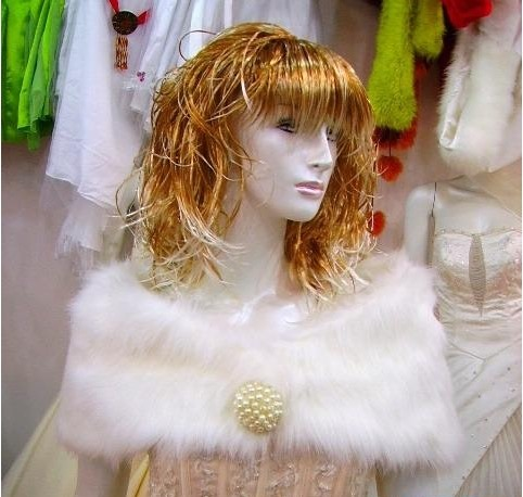 Remarkable Fluffy Crescent Pearl Ball Lady's Faux Fur Wedding/Evening Shawl