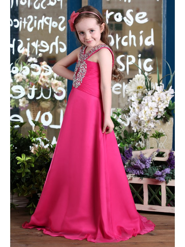 Amazing A-line Floor-length Beaded Flower Girl Dress