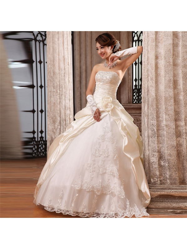 Graceful Ball Gown Flowers & Lace Strapless Floor Length Wedding Dress(Free Shipping)