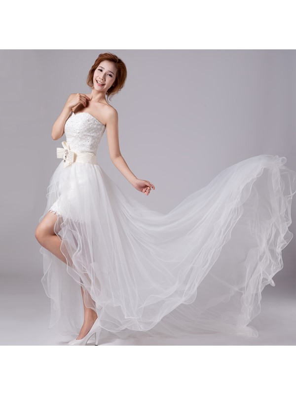 Beautiful Strapless Bowknot Lace Beach Wedding Dress with Detachable Train