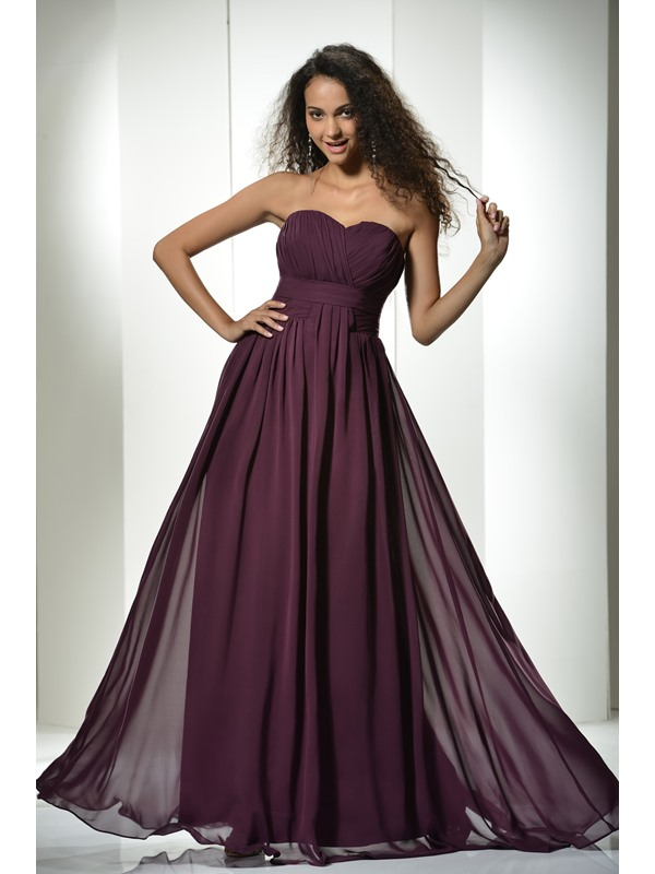 Simple Ruched A-Line Floor-Length Sweetheart Empire Waist Long Dress