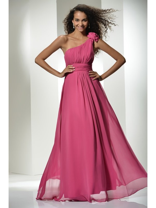 Top Selling One-Shoulder Flowers A-Line Ruched Floor-Length Prom Dress