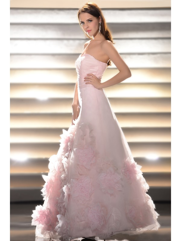 A-Line Sweetheart Floor-length Flowers Prom/Quinceanera Dress