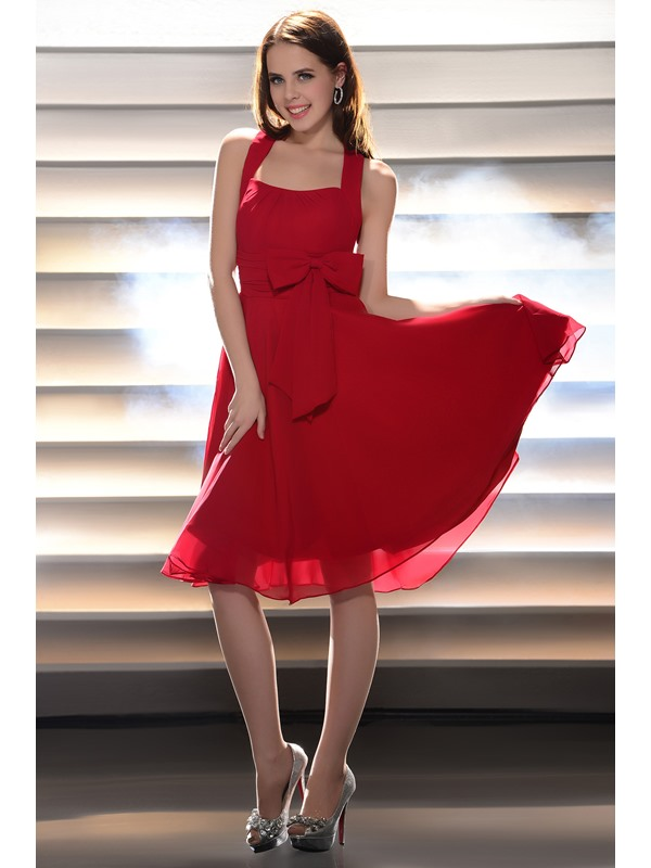 Lovely A-Line Bowknot Halter Mini Length Homecoming Dress