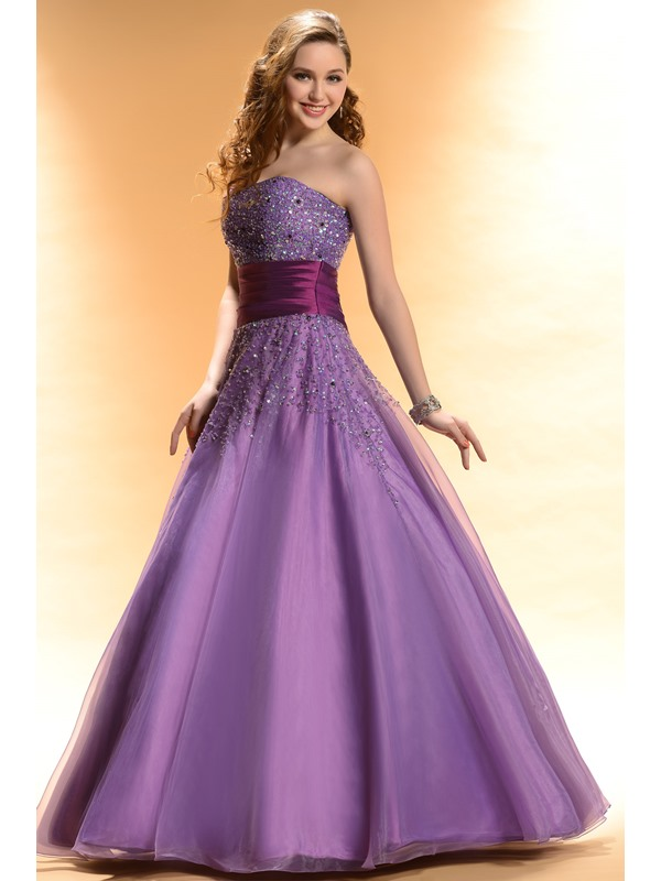 Gorgeous Strapless Sequins Floor-Length Lace-up A-Line Prom/Quinceanera Dress