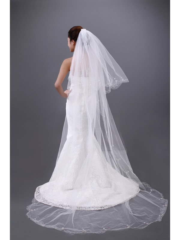 Luxury Two Layers Single Yarn Cathedral Wedding Brail Veil