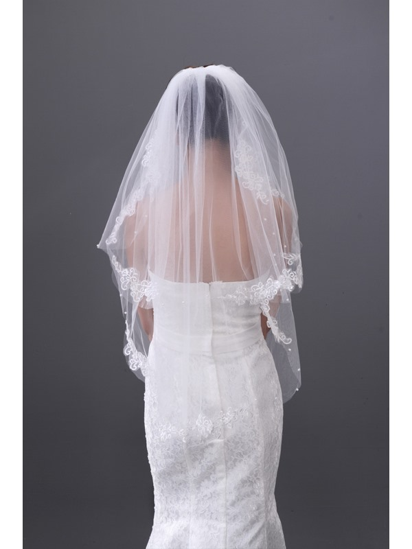 Pretty Tidebuy Elbow Bridal Veil with Lace Edge