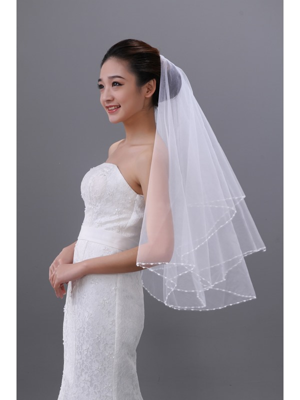 Elbow Wedding Bride Veil With Beadings Decorate Edge