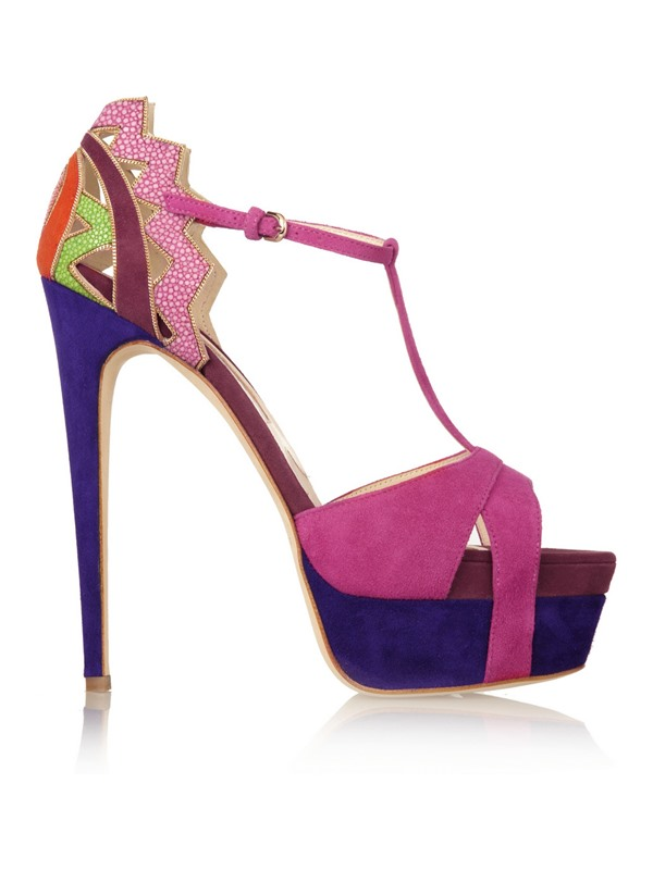 Suede T-Strap Stiletto Heel Sandals