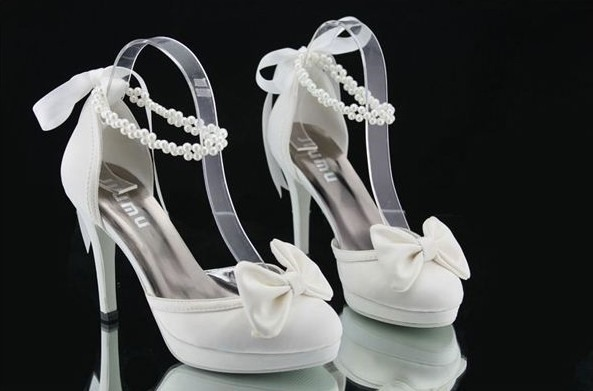 Satin Stiletto Heels Closed Toe Bowknot Wedding Shoes