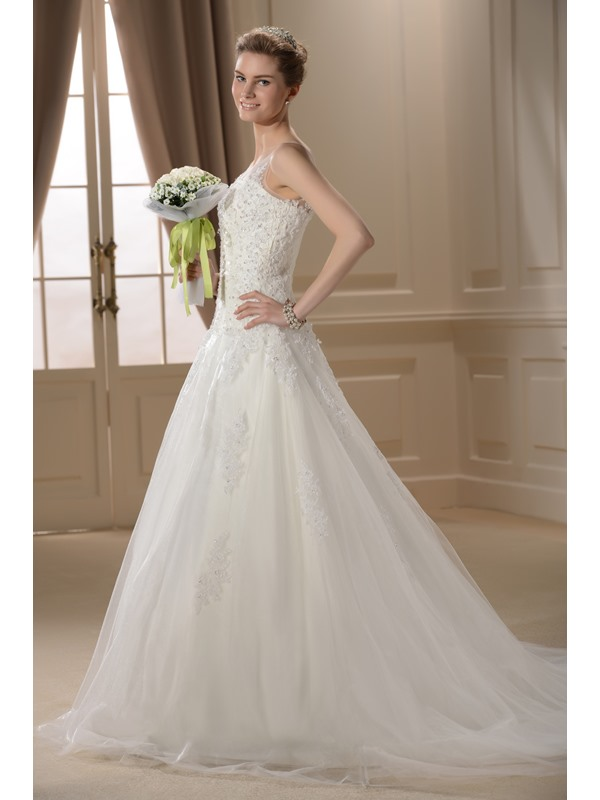 Terrific A-line Jewel Neckline Appliques Chapel Train Wedding Dress