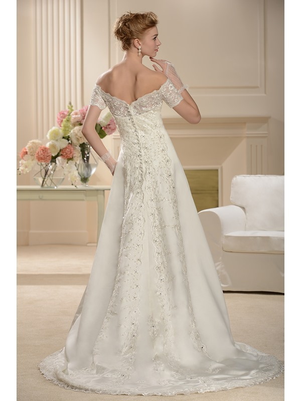 A-line Floor-length Bateau Off-The-Shoulder Short-Sleeve Wedding Dress