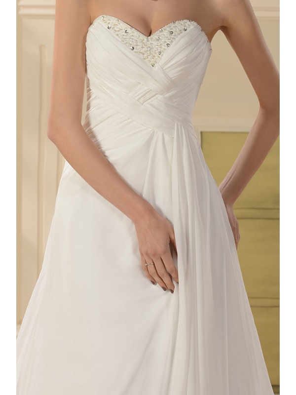 Gorgeous Empire Sleeveless Strapless Court Train Beaded Wedding Dress(Free Shipping)