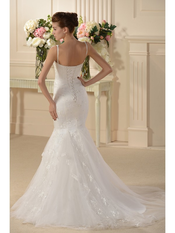 Attractive Trumpet/Mermaid Embroidery Spaghetti Straps Wedding Dress(Free Shipping)