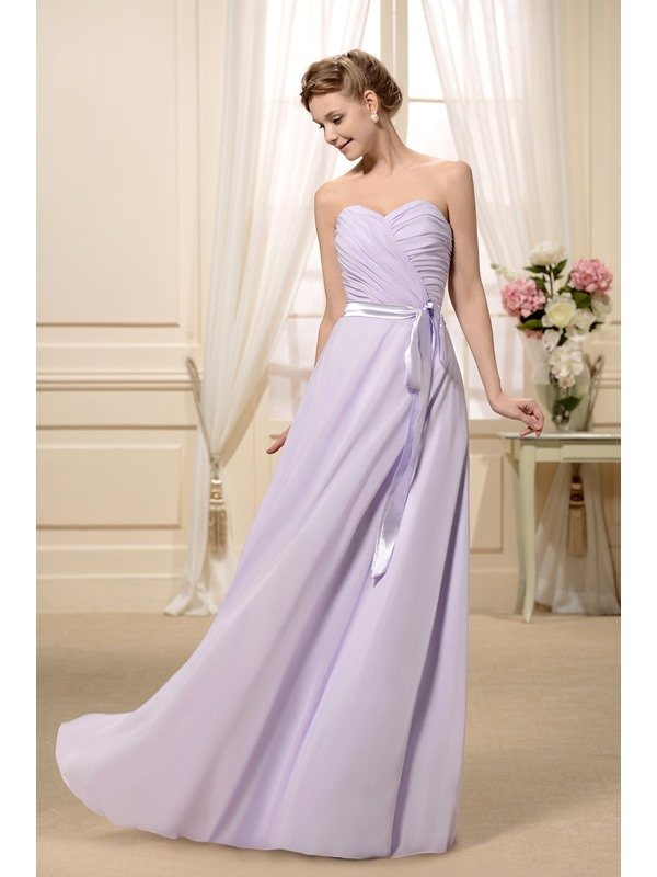 Sashes/Ribbons Ruched A-Line Sweetheart Neckline Floor-Length Bridesmaid Dress