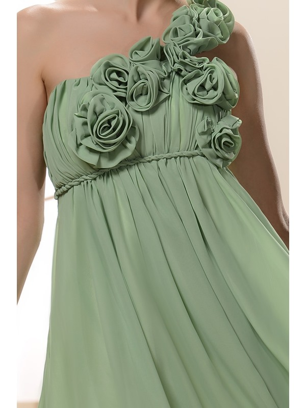 Charming A-Line Flowers One-Shoulder Knee-Length Bridesmaid/Homecoming Dress(Free Shipping)