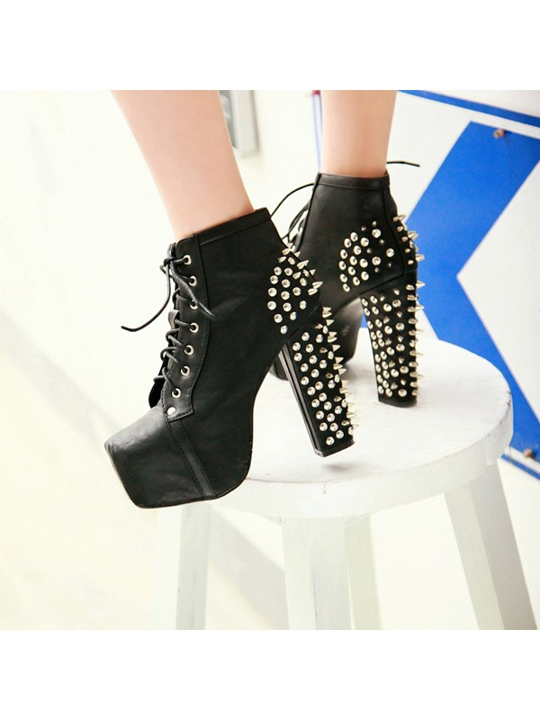 Popular Unique Design Black Closed Toe PU Boots