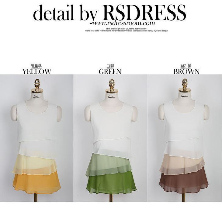 Auspicious Korean Style Sleeveless Chiffon Stratified Jumper