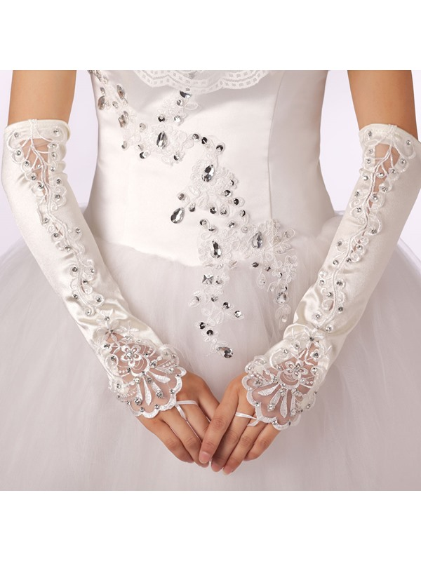 Impresive Half Long Fingerless Applique Bridal Gloves