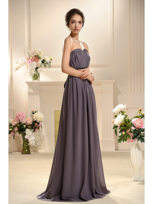 Faddish Flowers Pleats A-Line Sashes Floor-Length Bridesmaid Dress(Free Shipping)