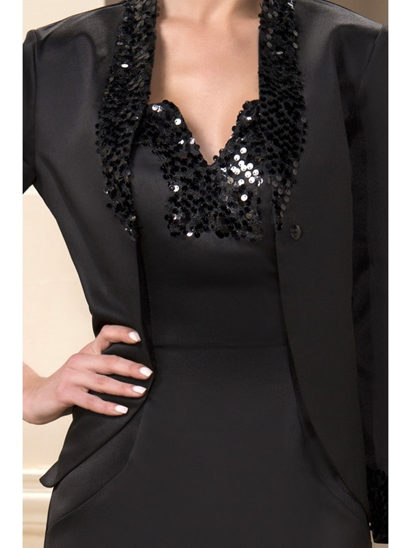 Sequin Beaded V-Neck Sheath Short Mother of the Bride Dress With Jacket/Shawl