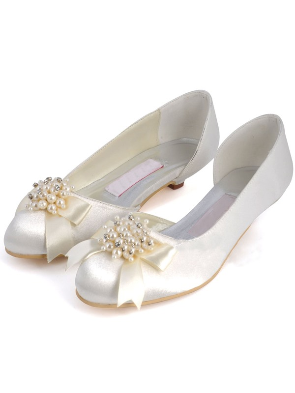 Pearls White Satin Wedding Shoes