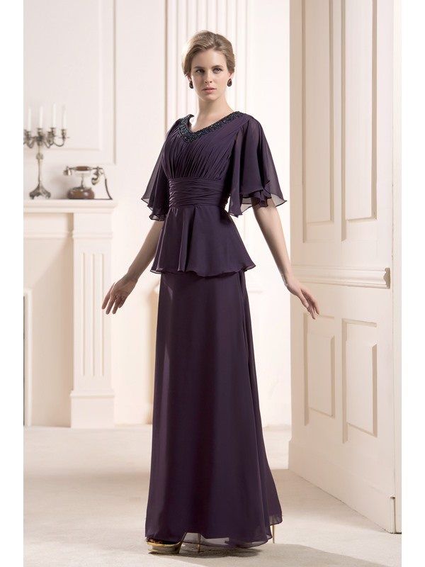 Faddish Beaded Tiered Floor-Length V-Neck Half Sleeves Mother of the Bride Dress