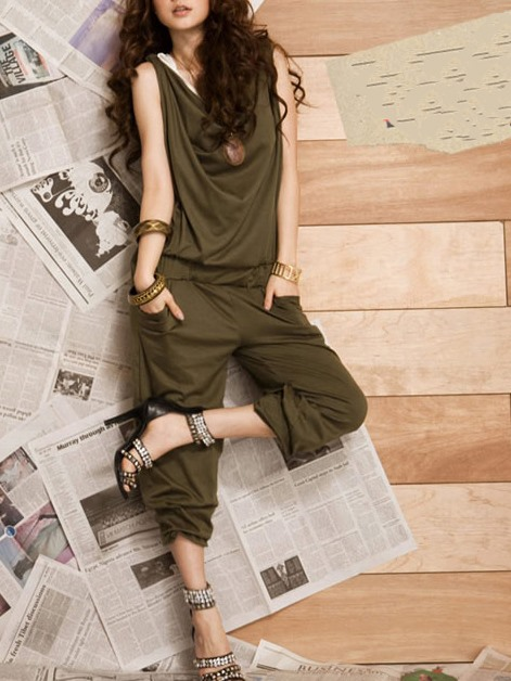 Loose Drape Personality Boutique Green Jumpsuits