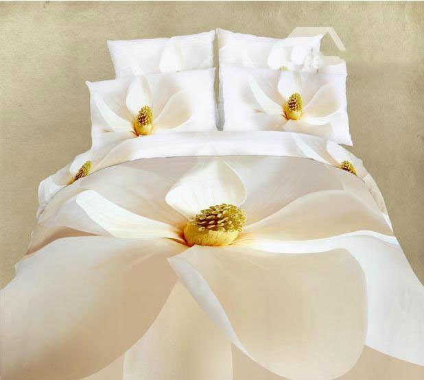 Pure Blooming White Flower Printed 100% Cotton 4-Piece Bedding Sets(Free Shipping)
