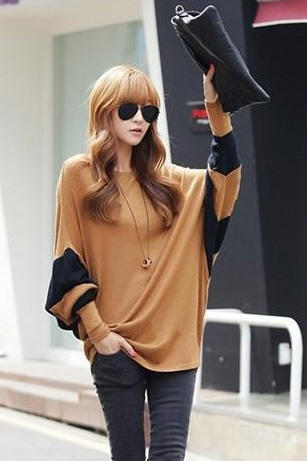 New Loose Round Neckline Long Sleeves T-shirt