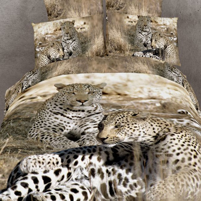 Unique Top Quality Cotton Leopard 4 Pieces 3D Bedding Sets