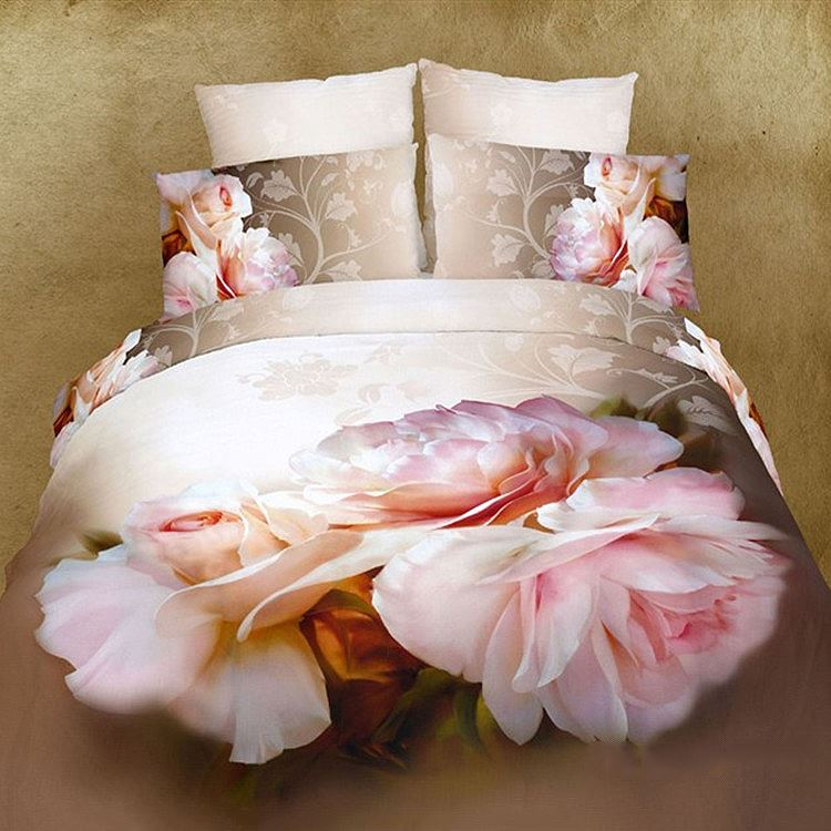 Brilliant Flowers Printed 4 Pieces 100% Cotton Bedding Sets(Free Shipping)