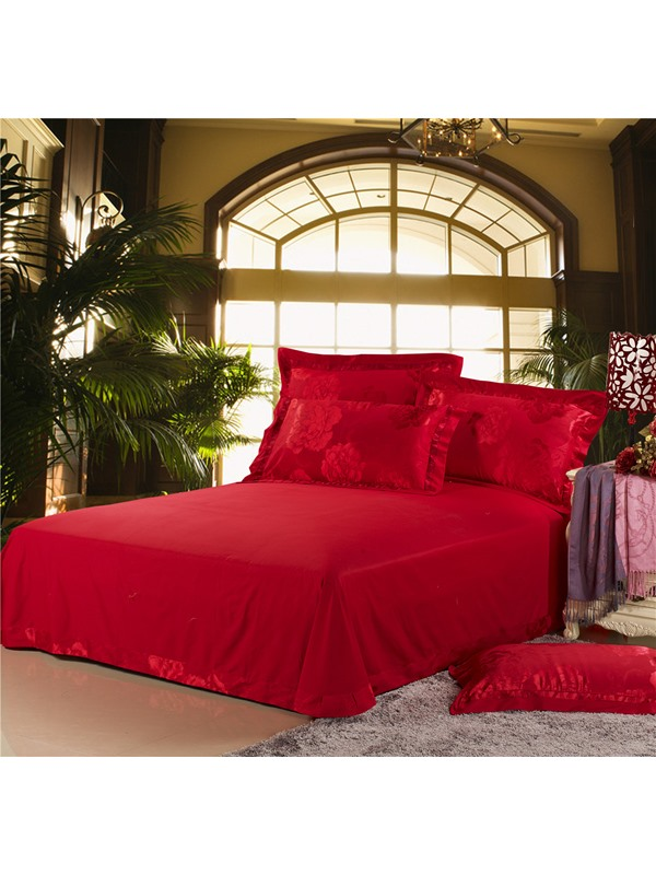 Cool Pink Flowers Print Fine Red Silk 4 Piece Bedding Sets