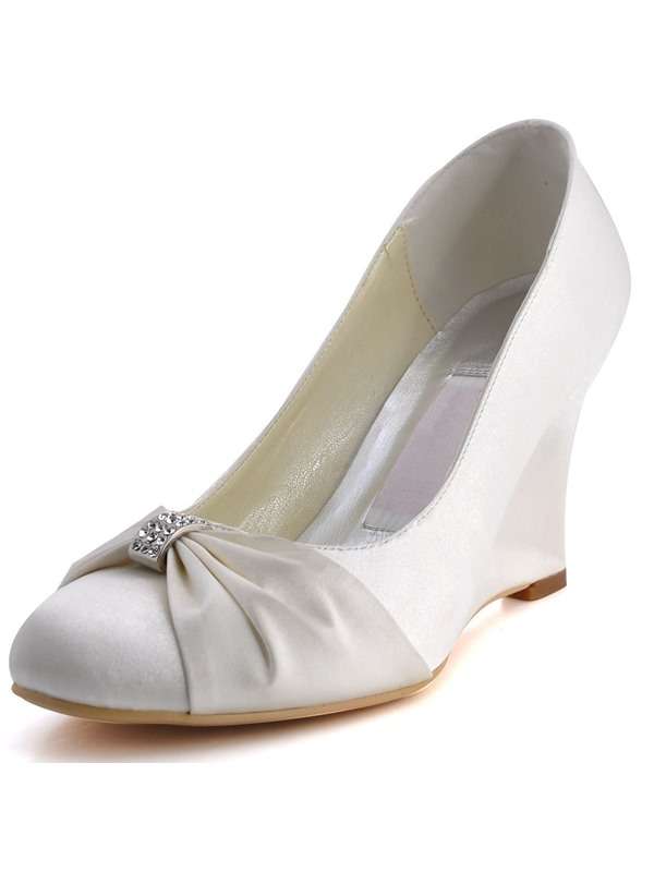 Unique Closed-toe Bow Wedge Heels Wedding Shoes