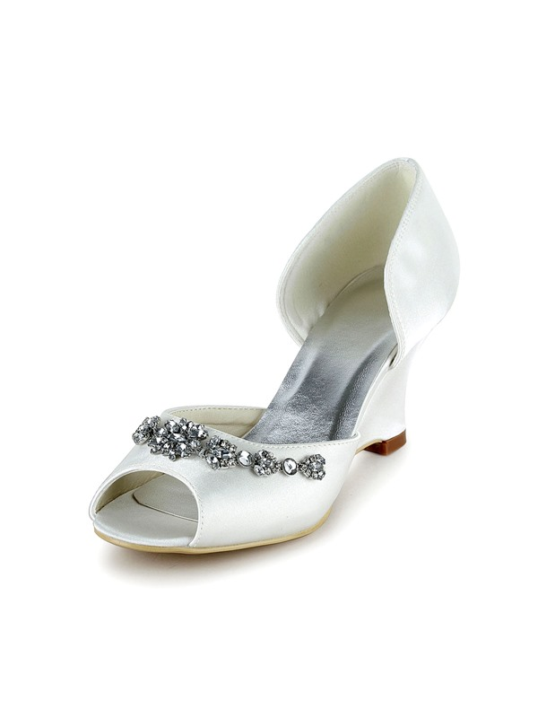 Stylish Lace Upper Peep Toe Rhinestone Wedge Heel Wedding Shoes