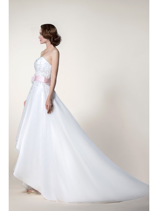 Stunning A-Line Asymmetry Hemline Sashes/Ribbons Wedding Dress