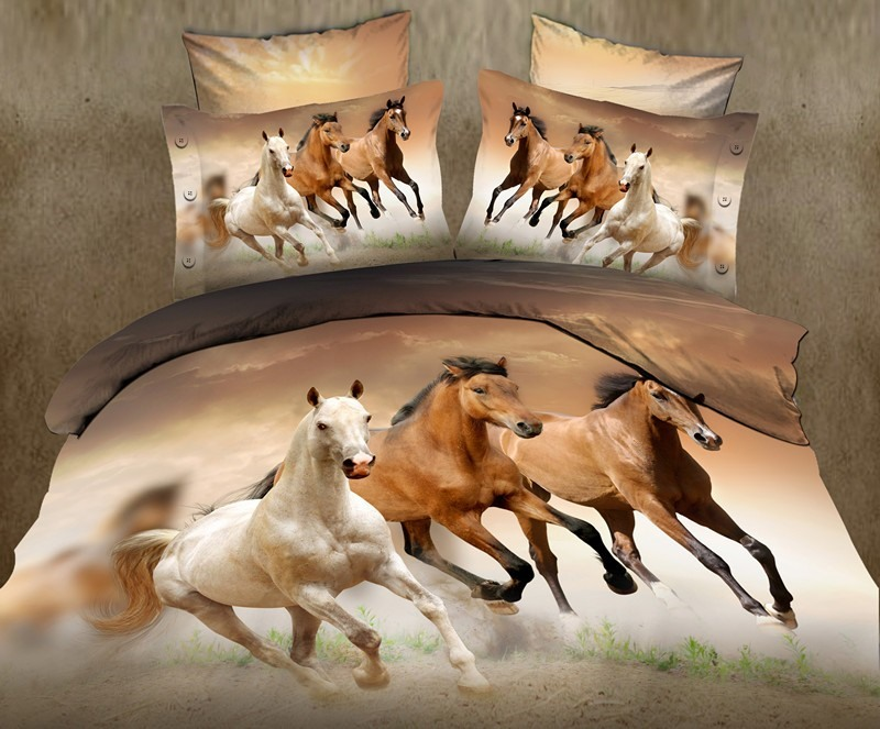 Handsome Horse 3D 4 Piece Cotton Bedding Sets(Free Shipping)