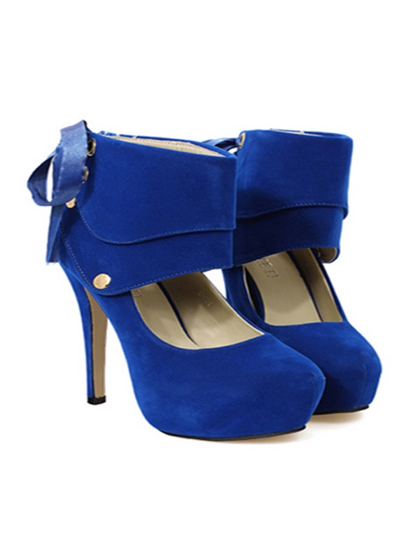 Classical Blue Round Toe Bandage Platform Prom Shoes