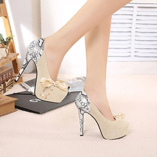 New Pure Pink Suede Leather Pointy Toe Bow Knot Stiletto Heel Pumps