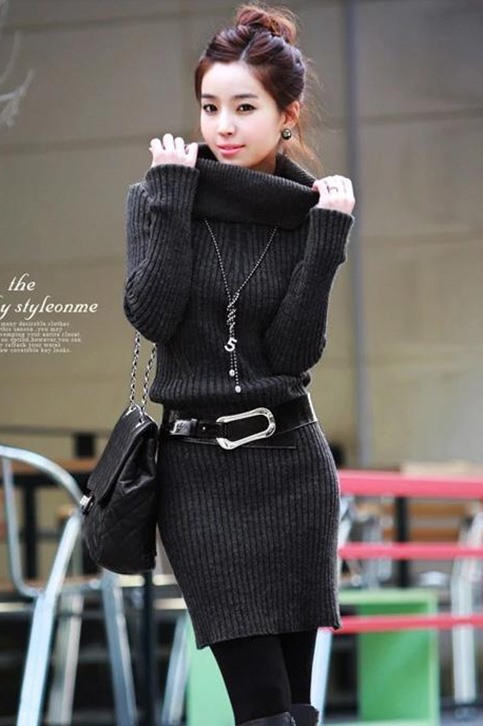 Popular Turtle Collar Warm Thick Short Sweater Dress With Belt