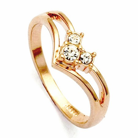 Distinctive Golden Alloy with Crysatl Women's Ring